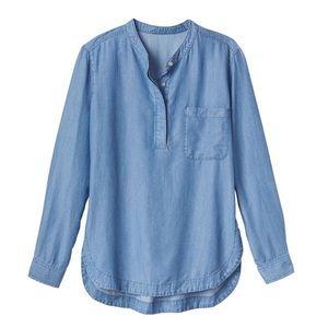 Athleta chambray popover button down blouse